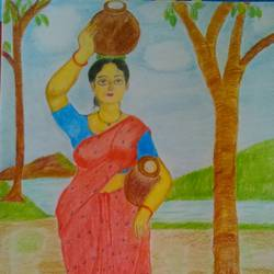 village girl, 8 x 11 inch, geethanjali krishna,8x11inch,drawing paper,paintings for dining room,paintings for living room,paintings for bedroom,paintings for dining room,paintings for living room,paintings for bedroom,pencil color,GAL02511437353