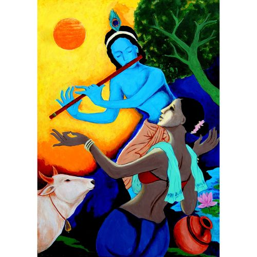 divine flute fantasy, 23 x 33 inch, lalit jain,23x33inch,canvas,abstract paintings,religious paintings,paintings for dining room,paintings for living room,paintings for bedroom,paintings for office,acrylic color,GAL02582037359