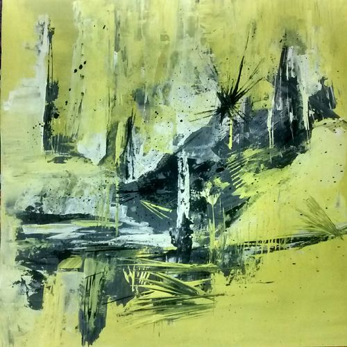 yellow mist, 18 x 18 inch, smriti sharma,abstract paintings,paintings for living room,thick paper,acrylic color,18x18inch,GAL013783736