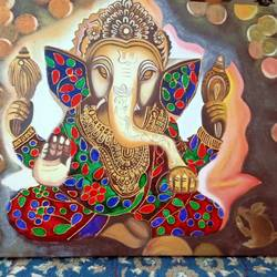 ganesha painting, 24 x 20 inch, shambhavi mishra mishra,24x20inch,canvas board,paintings,ganesha paintings | lord ganesh paintings,paintings for living room,paintings for office,paintings for hotel,paintings for school,paintings for hospital,acrylic color,enamel color,mixed media,oil color,GAL01966837367