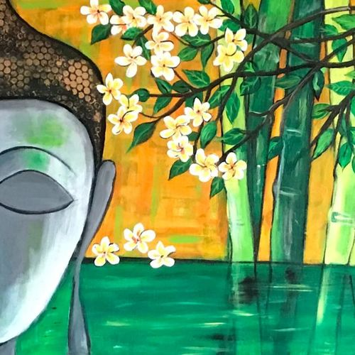 buddha with scenic background, 24 x 36 inch, pragati c,24x36inch,canvas,paintings,abstract paintings,buddha paintings,landscape paintings,religious paintings,nature paintings | scenery paintings,paintings for living room,paintings for bedroom,paintings for office,paintings for hotel,paintings for school,paintings for hospital,acrylic color,GAL02554637374