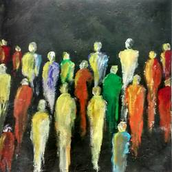 abstract human, 15 x 15 inch, smriti sharma,abstract paintings,paintings for living room,thick paper,acrylic color,15x15inch,GAL013783738