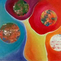 energies, 15 x 15 inch, smriti sharma,abstract paintings,paintings for living room,thick paper,acrylic color,15x15inch,GAL013783739
