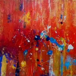 splashes, 13 x 14 inch, smriti sharma,abstract paintings,paintings for living room,thick paper,acrylic color,13x14inch,GAL013783740