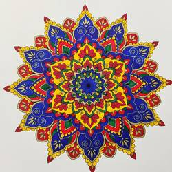 mandala art, 12 x 12 inch, madhupriya  shankar,12x12inch,fabriano sheet,paintings,flower paintings,paintings for dining room,paintings for living room,paintings for bedroom,paintings for office,paintings for kids room,pen color,GAL02450837402