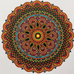 mandala art, 12 x 12 inch, madhupriya  shankar,12x12inch,fabriano sheet,paintings,flower paintings,paintings for dining room,paintings for living room,paintings for bedroom,paintings for office,paintings for kids room,paintings for hotel,pen color,GAL02450837404