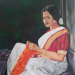 devdasi, 36 x 24 inch, shankha mitra,36x24inch,canvas,paintings,figurative paintings,portrait paintings,acrylic color,GAL02246937415
