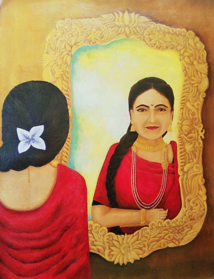 indian lady, 18 x 23 inch, nireeksha acharya,18x23inch,canvas,paintings,portrait paintings,portraiture,paintings for living room,paintings for bedroom,acrylic color,GAL02175637416