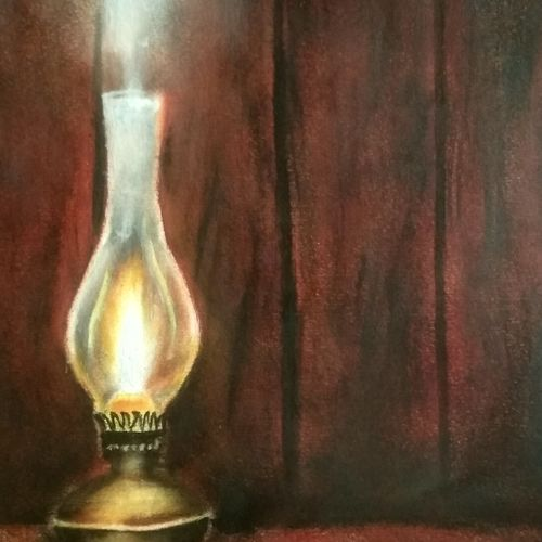 vintage lantern, 8 x 12 inch, suchitra polamuri,8x12inch,drawing paper,paintings,photorealism paintings,paintings for living room,oil color,GAL02583637417