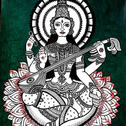 saraswathi matha, 8 x 12 inch, sailaja  balgeri,8x12inch,thick paper,drawings,fine art drawings,paintings for living room,paintings for office,paintings for kids room,pen color,GAL01586237421