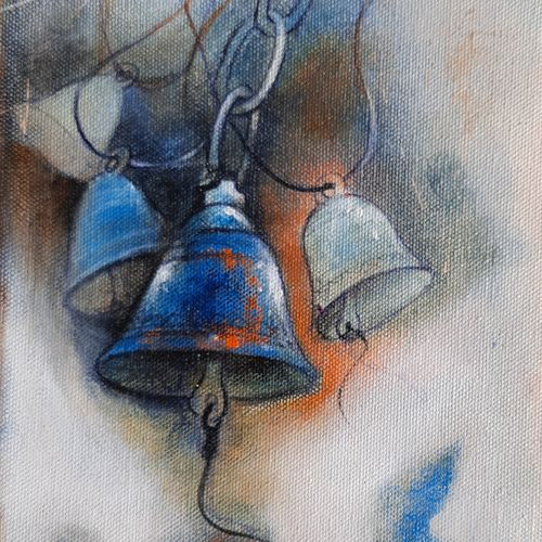 temple bells, 8 x 8 inch, swastik jawalekar,8x8inch,canvas,paintings,still life paintings,acrylic color,GAL02600137465