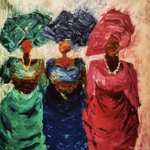 nigerian women in gele, 18 x 18 inch, akanksha mishra,18x18inch,canvas board,paintings,abstract paintings,figurative paintings,folk art paintings,modern art paintings,abstract expressionism paintings,art deco paintings,minimalist paintings,contemporary paintings,paintings for dining room,paintings for living room,paintings for bedroom,paintings for office,paintings for kids room,paintings for hotel,paintings for school,oil color,GAL02601937471