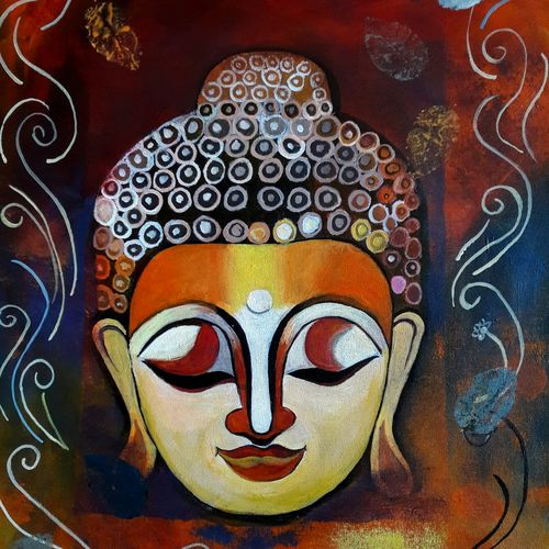 abstract buddha, 15 x 21 inch, indhuja raghavan,buddha paintings,paintings for living room,canvas,acrylic color,15x21inch,GAL01103748