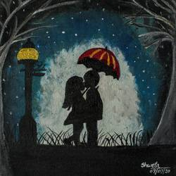 couple with umbrella, 10 x 11 inch, shweta maurya,10x11inch,canvas,paintings,landscape paintings,portrait paintings,nature paintings | scenery paintings,acrylic color,GAL02548037480