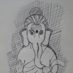 ganesha, 8 x 12 inch, m ravi kumar visweswaraiah,8x12inch,paper,paintings for dining room,paintings for living room,paintings for school,paintings for hospital,ganesha drawings,paintings for dining room,paintings for living room,paintings for school,paintings for hospital,ball point pen,GAL02411637490