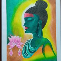 aesthetic paintings, 18 x 12 inch, samata kela,18x12inch,canvas,paintings,buddha paintings,paintings for living room,paintings for office,paintings for hotel,acrylic color,GAL02230737492