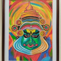 kathakali painting, 14 x 18 inch, samata kela,14x18inch,canvas,paintings,folk art paintings,paintings for living room,paintings for office,paintings for hotel,acrylic color,GAL02230737493