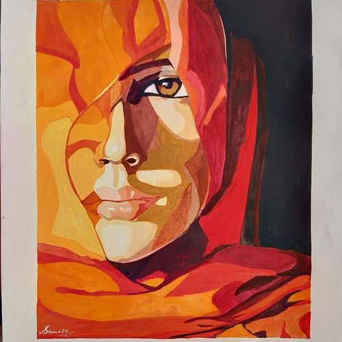 portrait painting, 10 x 12 inch, samata kela,10x12inch,canson paper,paintings,figurative paintings,modern art paintings,portrait paintings,paintings for dining room,paintings for living room,paintings for bedroom,paintings for hotel,poster color,paper,GAL02230737495