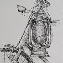 lantern and bicycle, 8 x 12 inch, swastik jawalekar,8x12inch,thick paper,drawings,illustration drawings,ink color,GAL02600137501