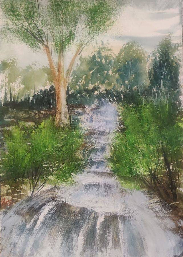 Waterfall through forest 1