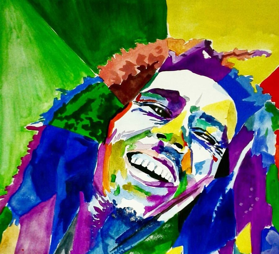 poster colour  of bob marley, 11 x 17 inch, moumita   roy chowdhury,portrait paintings,paintings for bedroom,paper,poster color,11x17inch,GAL013863751