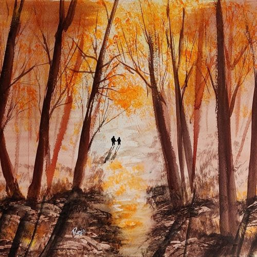 couple and autumn, 17 x 12 inch, raju singh,17x12inch,canson paper,paintings,abstract paintings,landscape paintings,modern art paintings,conceptual paintings,nature paintings   scenery paintings,abstract expressionism paintings,impressionist paintings,paintings for dining room,paintings for living room,paintings for bedroom,paintings for office,paintings for hotel,paintings for school,paintings for hospital,watercolor,GAL02410037510