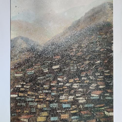 snow clad hill station, 17 x 12 inch, raju singh,17x12inch,canson paper,paintings,abstract paintings,landscape paintings,nature paintings | scenery paintings,expressionism paintings,impressionist paintings,surrealism paintings,paintings for dining room,paintings for bedroom,paintings for office,paintings for kids room,paintings for hotel,paintings for school,paintings for hospital,watercolor,GAL02410037512