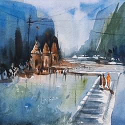 landscape, 12 x 8 inch, swastik jawalekar,12x8inch,renaissance watercolor paper,paintings,landscape paintings,nature paintings | scenery paintings,watercolor,GAL02600137514