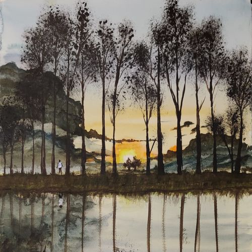 sunset at a village, 17 x 12 inch, raju singh,17x12inch,canson paper,landscape paintings,nature paintings | scenery paintings,impressionist paintings,surrealism paintings,paintings for dining room,paintings for living room,paintings for bedroom,paintings for office,paintings for kids room,paintings for hotel,paintings for kitchen,paintings for school,paintings for hospital,paintings for dining room,paintings for living room,paintings for bedroom,paintings for office,paintings for kids room,paintings for hotel,paintings for kitchen,paintings for school,paintings for hospital,watercolor,GAL02410037517