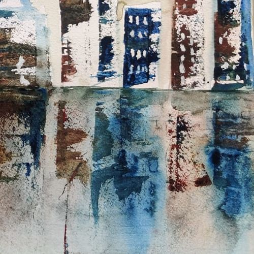 abstract painting of a city, 17 x 12 inch, raju singh,17x12inch,canson paper,paintings,abstract paintings,cityscape paintings,modern art paintings,conceptual paintings,abstract expressionism paintings,impressionist paintings,paintings for dining room,paintings for living room,paintings for bedroom,paintings for office,paintings for kids room,paintings for hotel,paintings for kitchen,paintings for school,paintings for hospital,watercolor,GAL02410037518