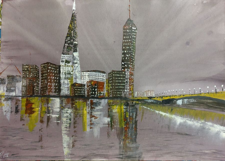 london - the shard, 24 x 18 inch, raju singh,24x18inch,thick paper,paintings,abstract paintings,cityscape paintings,modern art paintings,abstract expressionism paintings,impressionist paintings,paintings for dining room,paintings for bedroom,paintings for office,paintings for hotel,paintings for kitchen,paintings for school,paintings for hospital,watercolor,GAL02410037520
