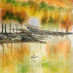 autumn and mountain, 17 x 12 inch, raju singh,17x12inch,canson paper,paintings,landscape paintings,modern art paintings,nature paintings | scenery paintings,impressionist paintings,surrealism paintings,paintings for dining room,paintings for living room,paintings for bedroom,paintings for office,paintings for kids room,paintings for hotel,paintings for kitchen,paintings for school,paintings for hospital,watercolor,GAL02410037521