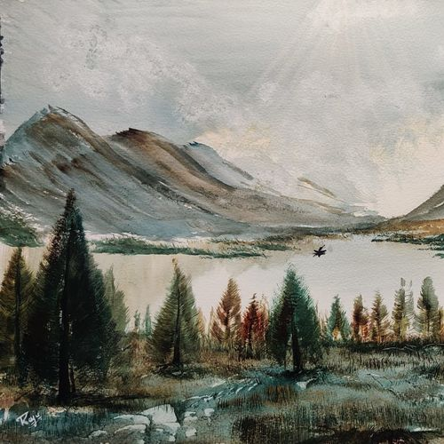 riverfront and mountain, 17 x 12 inch, raju singh,17x12inch,canson paper,paintings,landscape paintings,modern art paintings,nature paintings   scenery paintings,impressionist paintings,surrealism paintings,paintings for dining room,paintings for living room,paintings for bedroom,paintings for office,paintings for kids room,paintings for hotel,paintings for kitchen,paintings for school,paintings for hospital,watercolor,GAL02410037522