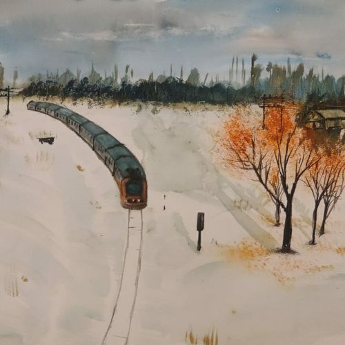 train through snow, 17 x 12 inch, raju singh,17x12inch,canson paper,paintings,abstract paintings,landscape paintings,nature paintings | scenery paintings,impressionist paintings,paintings for dining room,paintings for living room,paintings for bedroom,paintings for office,paintings for kids room,paintings for hotel,paintings for kitchen,paintings for school,paintings for hospital,watercolor,GAL02410037527