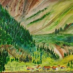 village at foothills of mountains, 17 x 12 inch, raju singh,17x12inch,canson paper,paintings,abstract paintings,landscape paintings,nature paintings | scenery paintings,impressionist paintings,paintings for dining room,paintings for living room,paintings for bedroom,paintings for kids room,paintings for hotel,paintings for kitchen,paintings for school,paintings for hospital,watercolor,GAL02410037530
