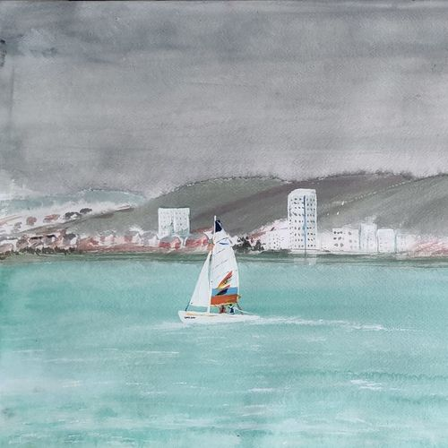 yacht at sea, 24 x 18 inch, raju singh,24x18inch,canson paper,paintings,landscape paintings,modern art paintings,nature paintings | scenery paintings,impressionist paintings,paintings for dining room,paintings for living room,paintings for bedroom,paintings for office,paintings for kids room,paintings for hotel,paintings for kitchen,paintings for school,paintings for hospital,watercolor,GAL02410037531