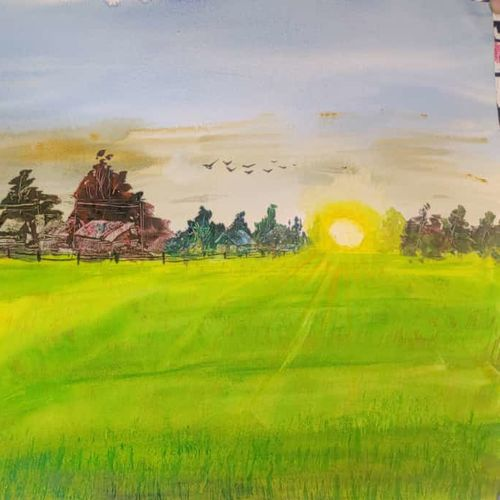 village and sunset, 24 x 18 inch, raju singh,24x18inch,canson paper,abstract paintings,landscape paintings,nature paintings | scenery paintings,impressionist paintings,paintings for dining room,paintings for living room,paintings for bedroom,paintings for kids room,paintings for hotel,paintings for kitchen,paintings for school,paintings for hospital,paintings for dining room,paintings for living room,paintings for bedroom,paintings for kids room,paintings for hotel,paintings for kitchen,paintings for school,paintings for hospital,watercolor,GAL02410037532