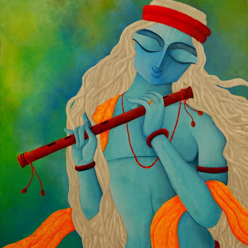 lord krishna, 36 x 48 inch, debaditya sarkar,modern art paintings,paintings for bedroom,religious paintings,paintings for living room,radha krishna paintings,canvas,acrylic color,36x48inch,GAL03963755