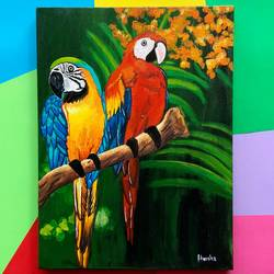 macaw parrots, 16 x 20 inch, harsha khanchandani ,16x20inch,canvas,paintings,flower paintings,nature paintings | scenery paintings,abstract expressionism paintings,impressionist paintings,realism paintings,animal paintings,paintings for dining room,paintings for living room,paintings for bedroom,paintings for office,paintings for bathroom,paintings for kids room,paintings for hotel,paintings for kitchen,paintings for school,paintings for hospital,acrylic color,GAL02500837555