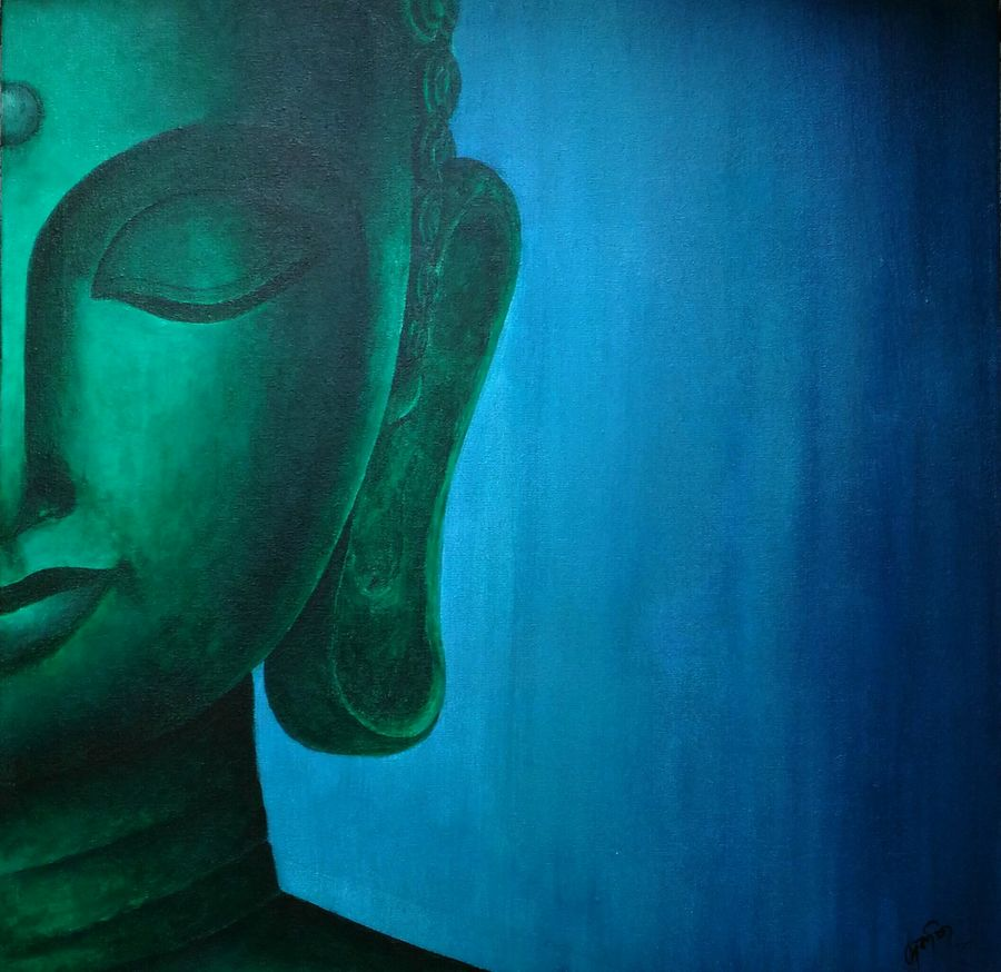 lord buddha, 18 x 24 inch, debaditya sarkar,buddha paintings,paintings for office,religious paintings,paintings for living room,canvas,acrylic color,18x24inch,GAL03963756