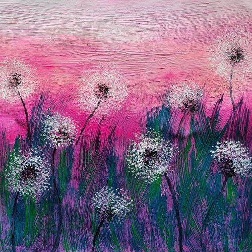 dandelions in the wild, 16 x 15 inch, esther sandhya a,16x15inch,canvas,paintings,abstract paintings,flower paintings,nature paintings | scenery paintings,paintings for dining room,paintings for living room,paintings for bedroom,paintings for office,paintings for kids room,paintings for school,paintings for hospital,acrylic color,GAL0166337568