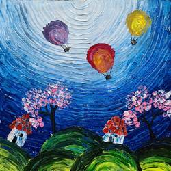 moonlight hot air baloons, 12 x 12 inch, esther sandhya a,12x12inch,canvas,abstract paintings,landscape paintings,modern art paintings,nature paintings | scenery paintings,art deco paintings,contemporary paintings,paintings for living room,paintings for bedroom,paintings for office,paintings for kids room,paintings for hotel,paintings for school,paintings for hospital,paintings for living room,paintings for bedroom,paintings for office,paintings for kids room,paintings for hotel,paintings for school,paintings for hospital,acrylic color,GAL0166337570