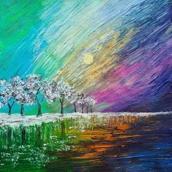 winter aurora, 12 x 12 inch, esther sandhya a,12x12inch,canvas,paintings,abstract paintings,landscape paintings,modern art paintings,nature paintings | scenery paintings,contemporary paintings,paintings for dining room,paintings for living room,paintings for bedroom,paintings for office,paintings for kids room,paintings for hotel,paintings for kitchen,paintings for school,paintings for hospital,acrylic color,GAL0166337571