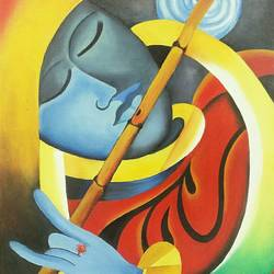 magna abstract, 12 x 16 inch, isha agarwal,paintings for living room,radha krishna paintings,vertical,canvas board,oil,12x16inch,GAL013853758,krishna,love,lordkrishna,flute,music