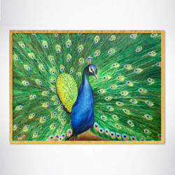 peacock hand painted acrylic painting , 12 x 16 inch, yogita kolge,12x16inch,canvas,paintings,wildlife paintings,nature paintings | scenery paintings,realistic paintings,paintings for living room,acrylic color,GAL02323837583