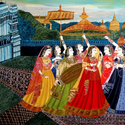 mathkor, 22 x 16 inch, chandan singh,22x16inch,ivory sheet,paintings,miniature painting.,paintings for living room,paintings for bedroom,paintings for hotel,acrylic color,fabric,watercolor,GAL02593837585