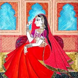 jharokha, 6 x 7 inch, chandan singh,6x7inch,ivory sheet,paintings,miniature painting.,paintings for living room,paintings for bedroom,paintings for hotel,acrylic color,fabric,watercolor,GAL02593837588