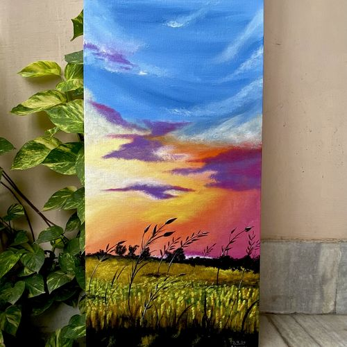beautiful sunset, 12 x 24 inch, ashima phougat,12x24inch,canvas board,landscape paintings,paintings for dining room,paintings for living room,paintings for bedroom,paintings for office,paintings for kitchen,paintings for dining room,paintings for living room,paintings for bedroom,paintings for office,paintings for kitchen,acrylic color,GAL02610537591