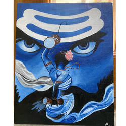 rudra tandava, 8 x 10 inch, ashima phougat,8x10inch,canvas board,paintings,religious paintings,paintings for dining room,paintings for living room,paintings for bedroom,paintings for office,acrylic color,GAL02610537592