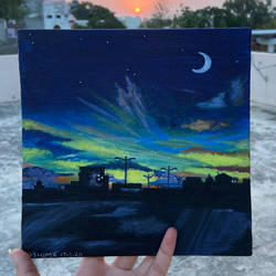 city sunset , 8 x 8 inch, ashima phougat,8x8inch,canvas board,paintings,landscape paintings,paintings for dining room,paintings for living room,paintings for bedroom,paintings for office,paintings for kitchen,acrylic color,GAL02610537593
